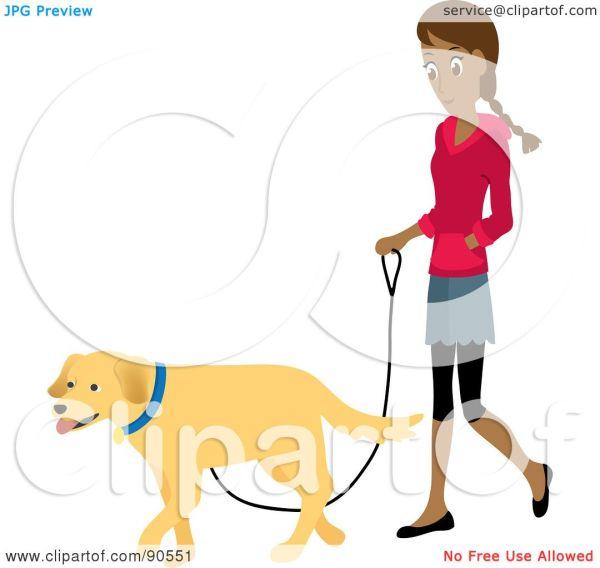Woman Walking Dog Clip Art