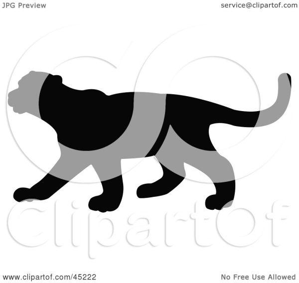 Royalty-free Rf Clipart Illustration Of Profiled Black Puma Silhouette Jr #45222