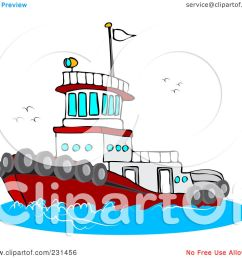 royalty free rf clipart illustration of a red and white tug boat at [ 1080 x 1024 Pixel ]
