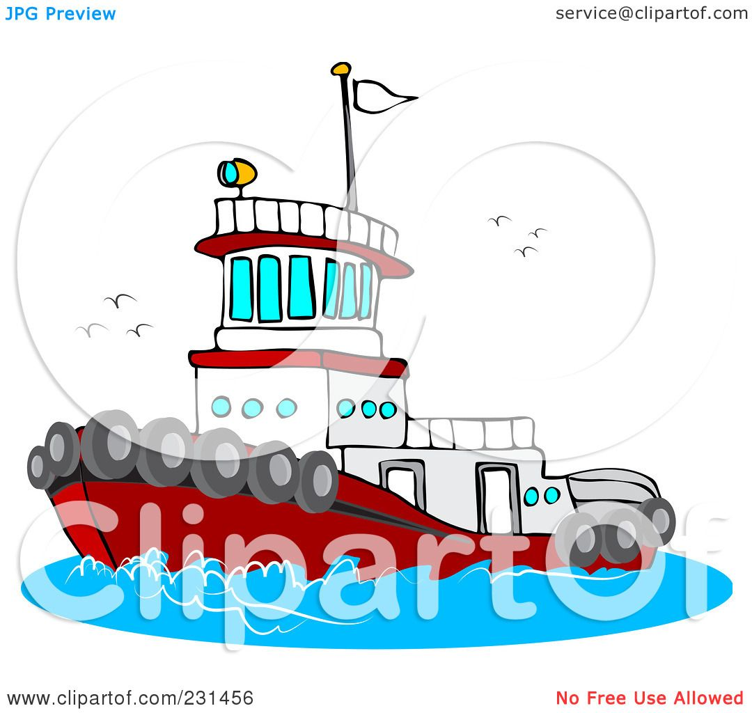 hight resolution of royalty free rf clipart illustration of a red and white tug boat at