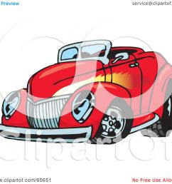 royalty free rf clipart illustration of a red convertible hot rod with a flame paint job by dennis holmes designs [ 1080 x 1024 Pixel ]
