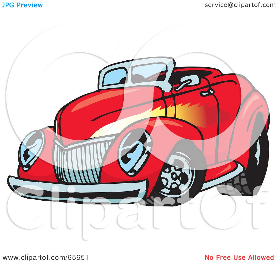 hight resolution of royalty free rf clipart illustration of a red convertible hot rod with a flame paint job by dennis holmes designs