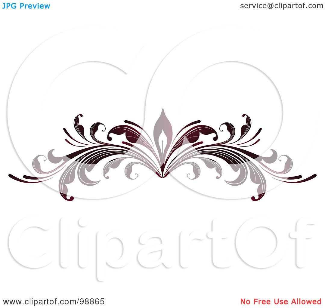 Royalty Free Rf Clipart Illustration Of A Red Leafy Flourish Divider Design Element