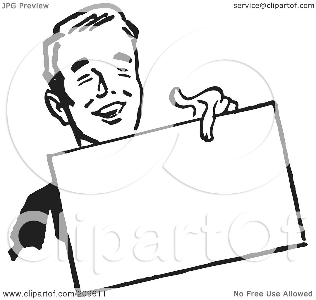 Royalty Free Rf Clipart Illustration Of A Retro Black And White Businessman Holding Out A