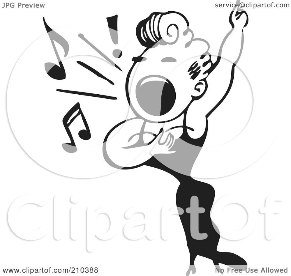 medium resolution of royalty free rf clipart illustration of a retro black and white female opera singer by bestvector
