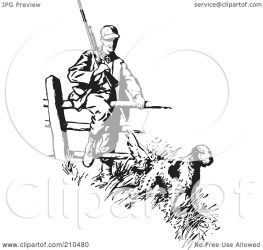 hunting dog clipart fence leading royalty retro illustration rf bestvector