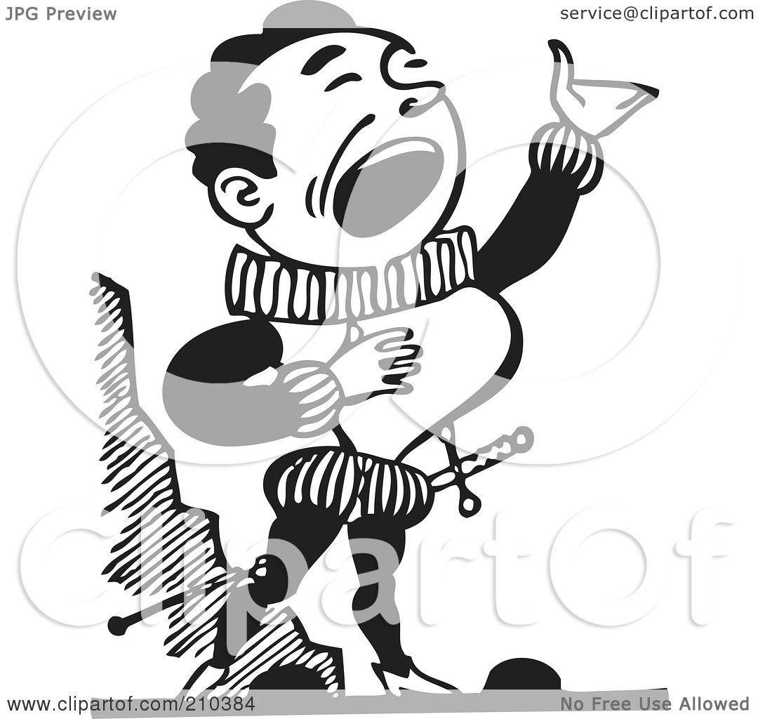 hight resolution of royalty free rf clipart illustration of a retro black and white male opera singer by bestvector
