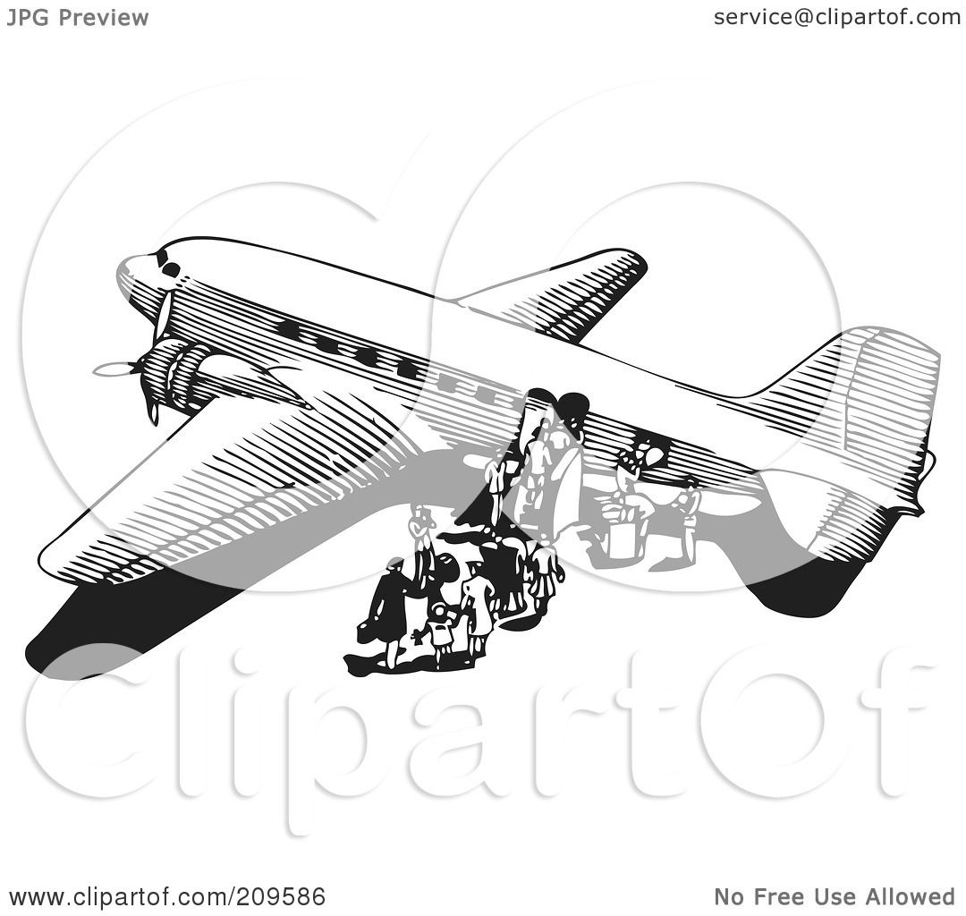 hight resolution of royalty free rf clipart illustration of a retro black and white plane