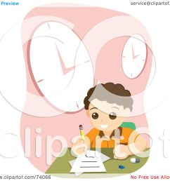 royalty free rf clipart illustration of a school boy doing his home work [ 1080 x 1024 Pixel ]