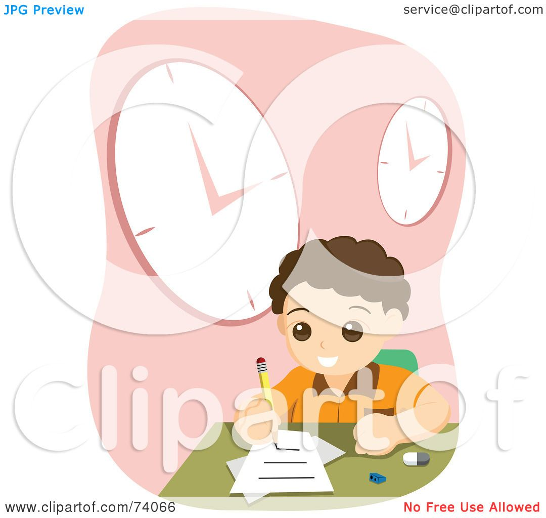 hight resolution of royalty free rf clipart illustration of a school boy doing his home work