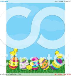 royalty free rf clipart illustration of a spring time easter background of baby chicks with easter eggs under a blue sky by maria bell [ 1080 x 1024 Pixel ]
