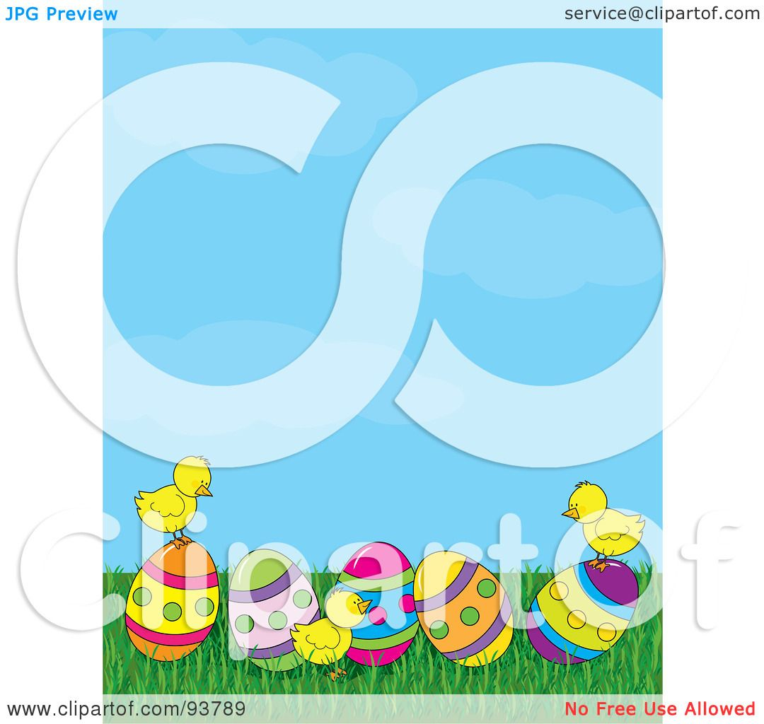 hight resolution of royalty free rf clipart illustration of a spring time easter background of baby chicks with easter eggs under a blue sky by maria bell