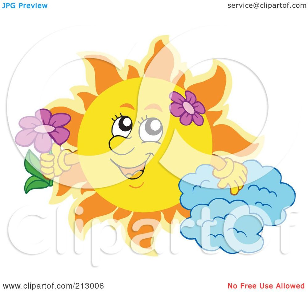 medium resolution of royalty free rf clipart illustration of a summer time sun with a cloud and flowers by visekart