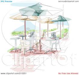 cafe outdoor watercolor scene illustration clipart sketched royalty rf bnp studio restaurant