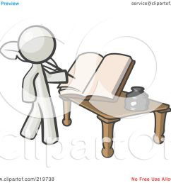 royalty free rf clipart illustration of a white man author writing history on blank pages of a book by leo blanchette [ 1080 x 1024 Pixel ]