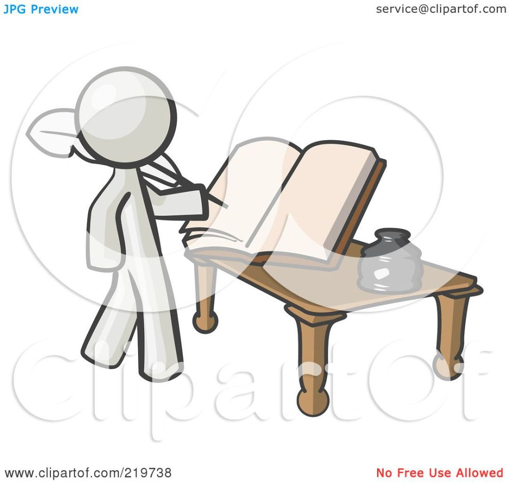 medium resolution of royalty free rf clipart illustration of a white man author writing history on blank pages of a book by leo blanchette