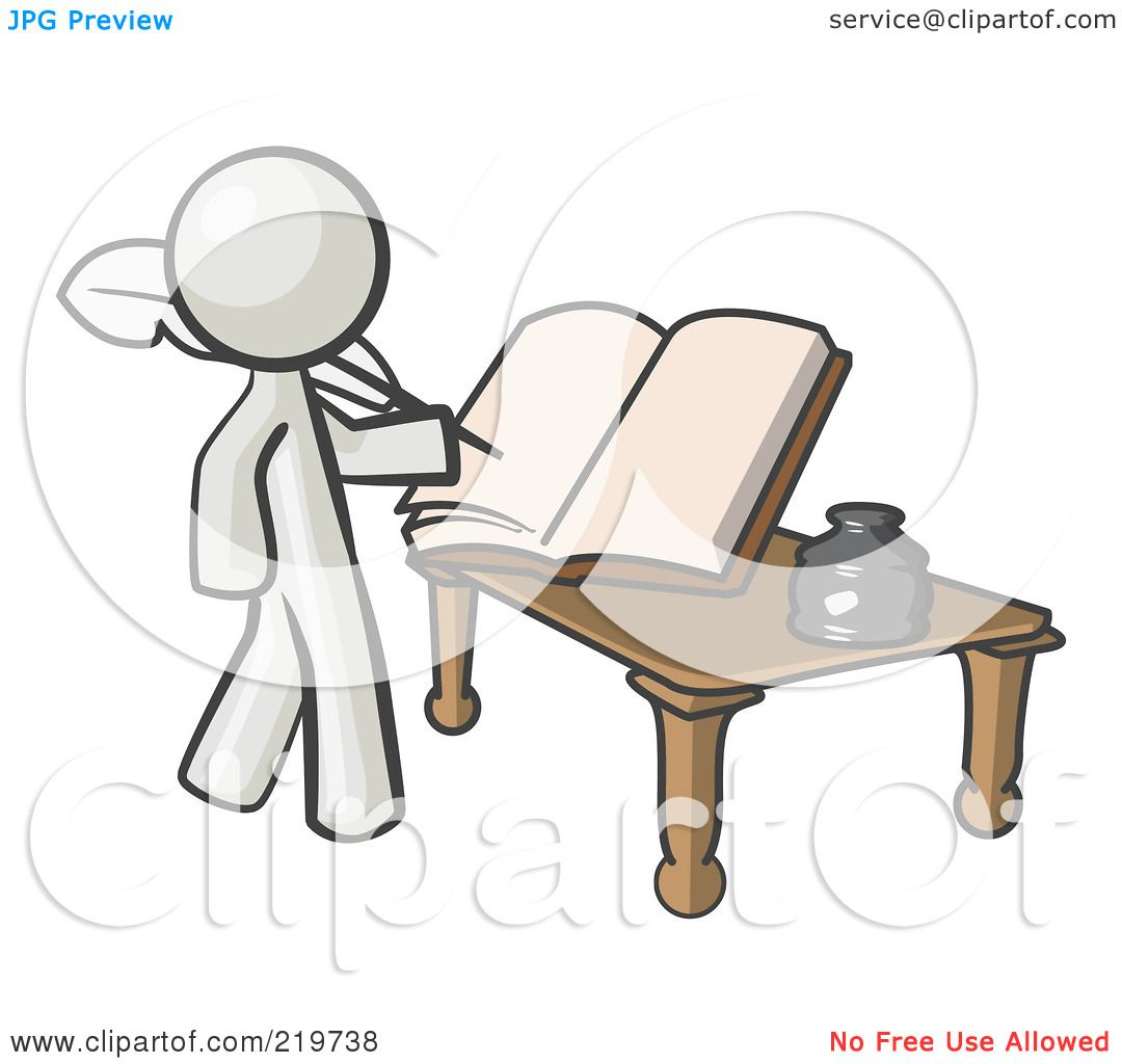 hight resolution of royalty free rf clipart illustration of a white man author writing history on blank pages of a book by leo blanchette