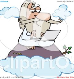 royalty free rf clipart illustration of a wise man using a laptop on [ 1080 x 1024 Pixel ]