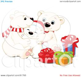 bear polar christmas clipart adorable royalty snuggling presents pushkin rf clip