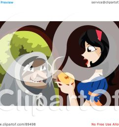royalty free rf clipart illustration of an old witch urging snow white to [ 1080 x 1024 Pixel ]