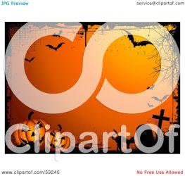 grunge bordered halloween orange cat background pumpkins bats graveyard clipart royalty illustration pargeter kj rf