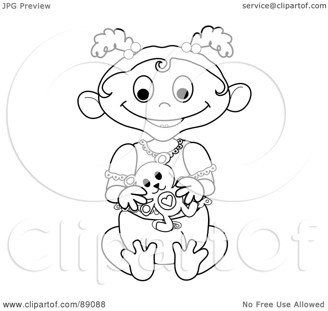 Royalty Free Rf Clipart Illustration Of An Outlined Baby Girl Holding A Teddy Bear