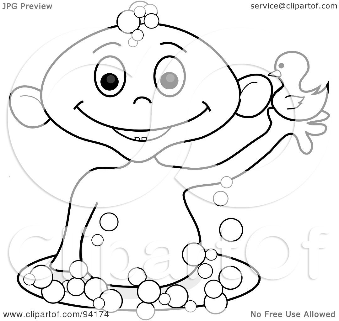 Royalty Free Rf Clipart Illustration Of An Outlined Baby