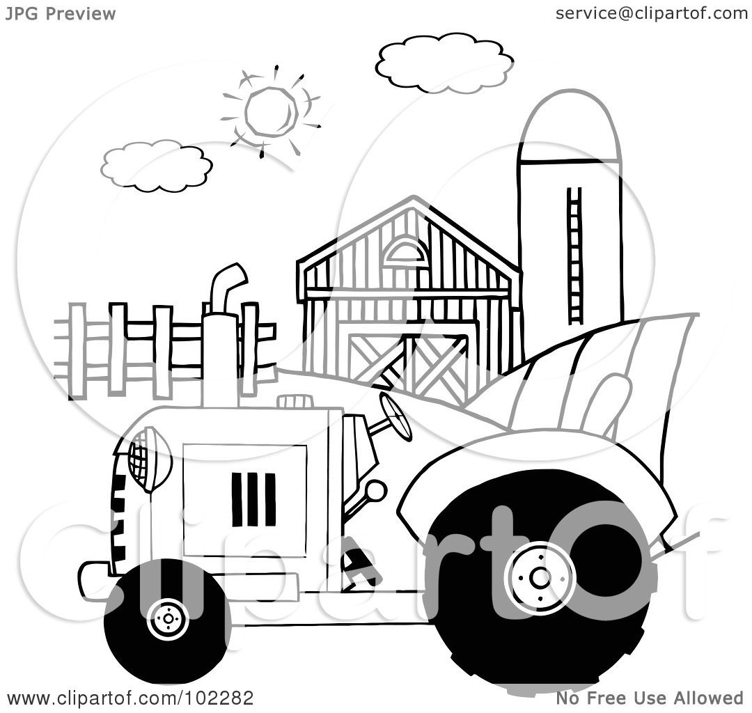 Royalty-Free (RF) Clipart Illustration of an Outlined Farm
