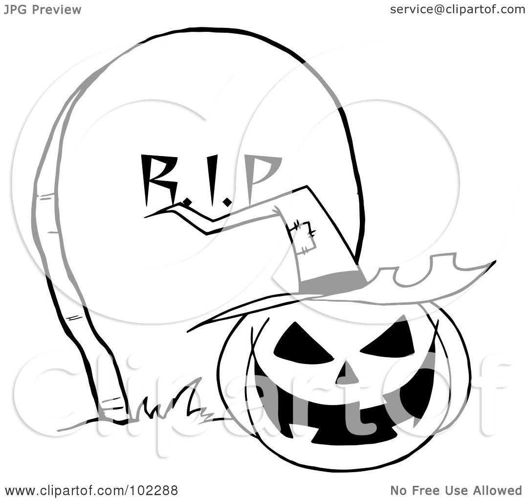 Royalty Free Rf Clipart Illustration Of An Outlined Jack O Lantern By A Tombstone By Hit Toon