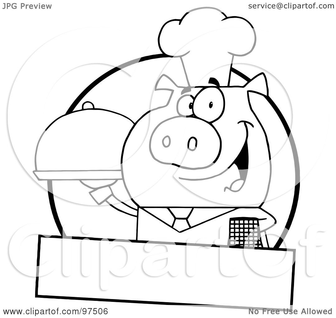 Royalty Free Rf Clipart Illustration Of An Outlined Pig Waiter Serving A Platter Logo With A