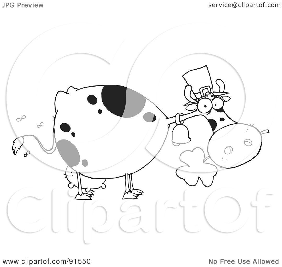 Royalty Free Rf Clipart Illustration Of An Outlined St Patricks Day Cow Wearing A Hat And