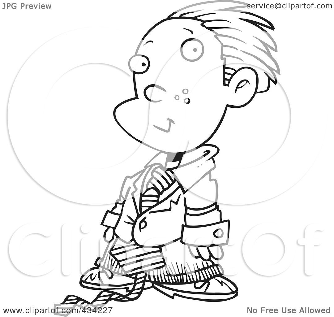 Royalty Free Rf Clipart Illustration Of Line Art Of A Cartoon Business Executive Boy Using A