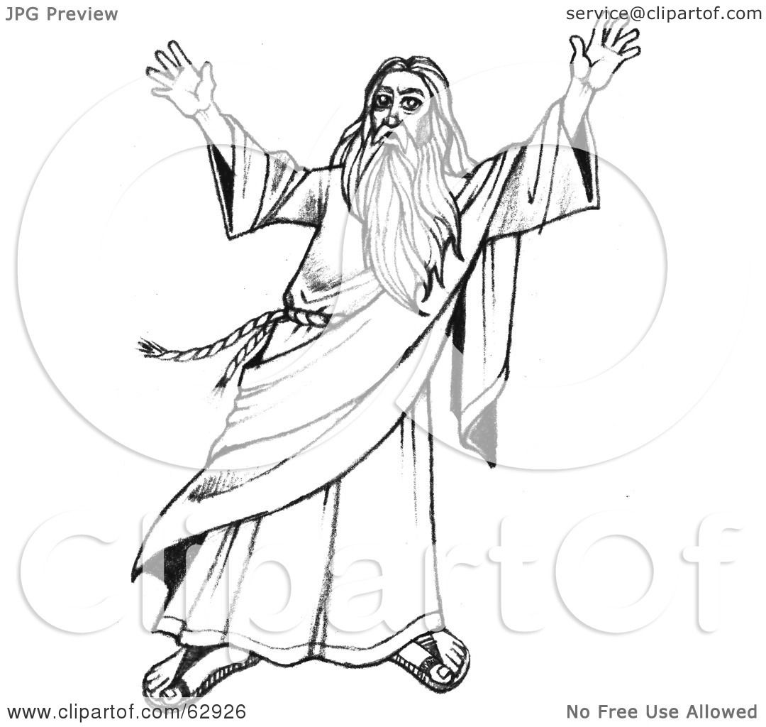 Royalty-Free (RF) Clipart Illustration of Moses In Black And White, Holding Up His Arms by