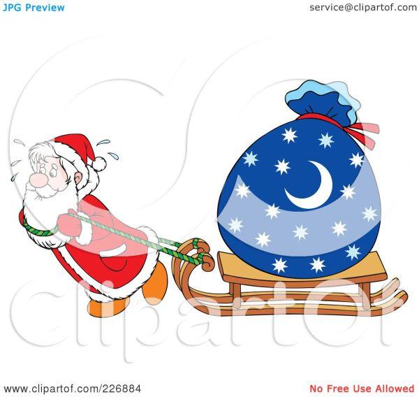 Royalty-free Rf Clipart Illustration Of Santa Dragging