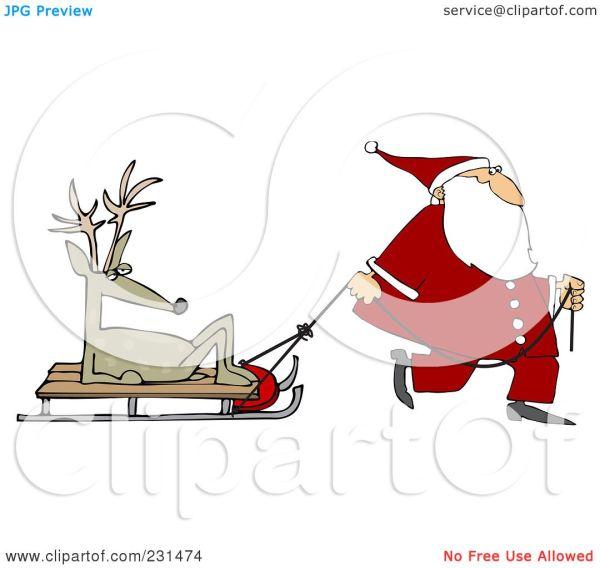 Royalty-free Rf Clipart Illustration Of Santa Walking