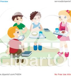 royalty free rf clipart illustration of school children eating hot lunches in a cafeteria by bnp design studio [ 1080 x 1024 Pixel ]