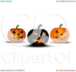 pumpkins orange halloween three clipart spooky royalty illustration kj pargeter rf
