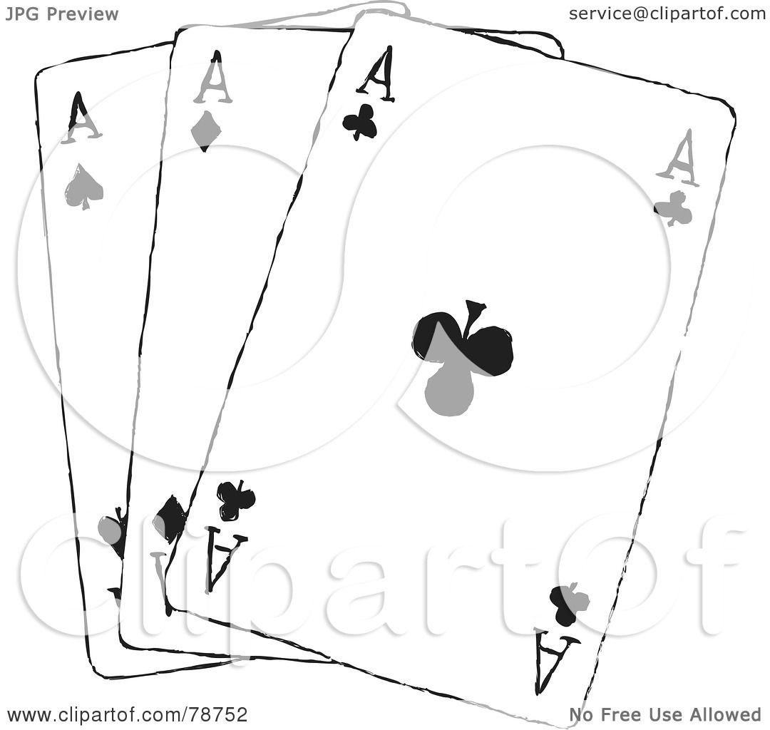 Royalty Free Rf Clipart Illustration Of Three Black And White Ace Playing Cards By Prawny