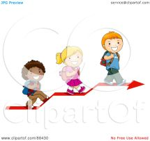 Children Walking Up Stairs Clip Art