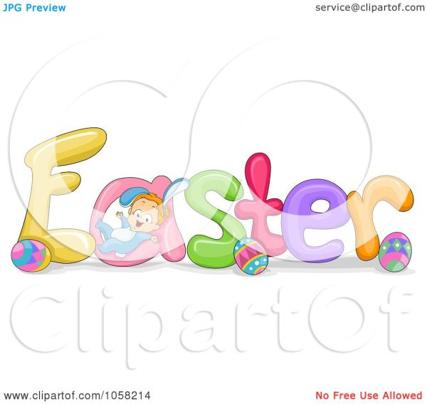 Happy Easter Words Clip Art