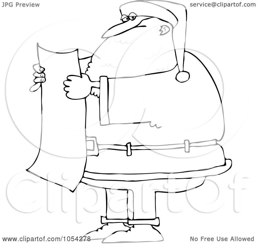 Royalty Free Vector Clip Art Illustration Of A Black And White Santa Reading A List Outline By