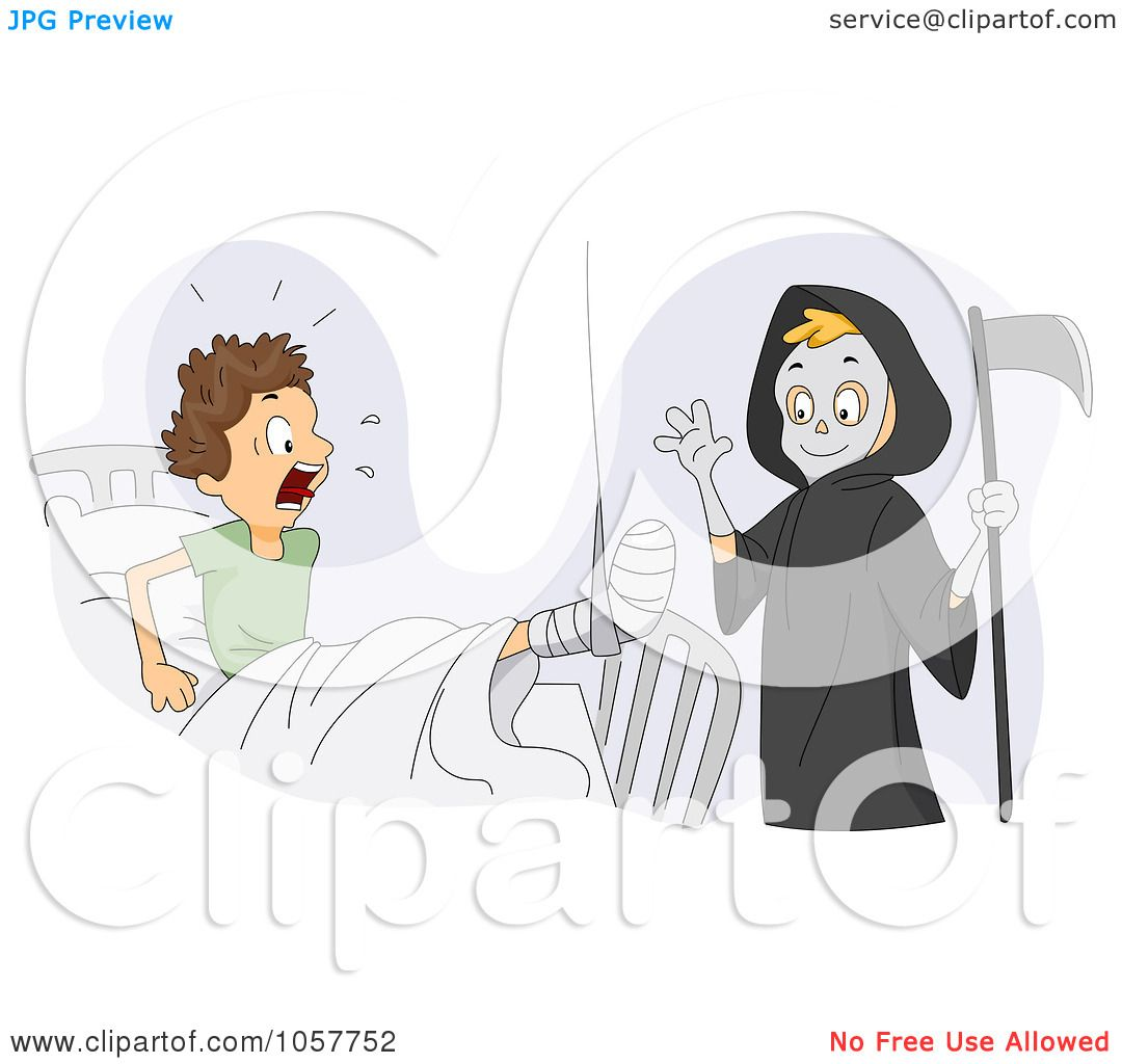 hight resolution of royalty free vector clip art illustration of a boy dressed up as the grim reaper scaring his friend by bnp design studio