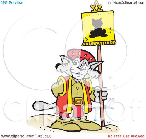 small resolution of royalty free vector clip art illustration of a christopher columbus explorer cat posting a flag by johnny sajem