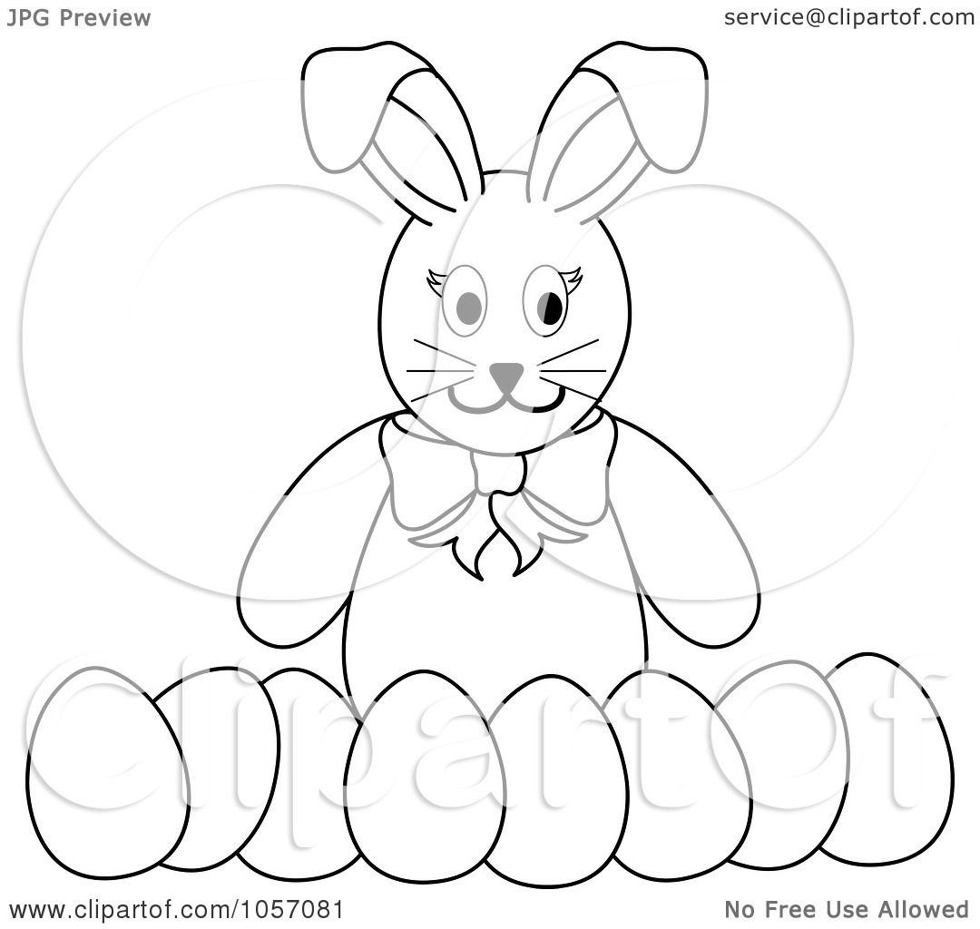 Royalty Free Vector Clip Art Illustration Of A Coloring Page Outline Of A Bunny With A Row Of