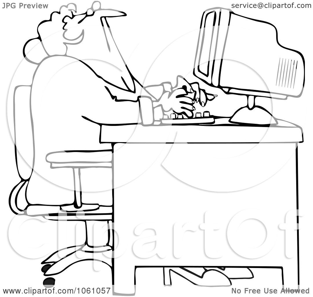 Royalty Free Vector Clip Art Illustration Of A Coloring Page Outline Of A Distracted Woman