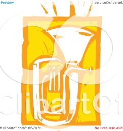 royalty free vector clip art illustration of a yellow woodcut styled tuba by xunantunich [ 1080 x 1024 Pixel ]