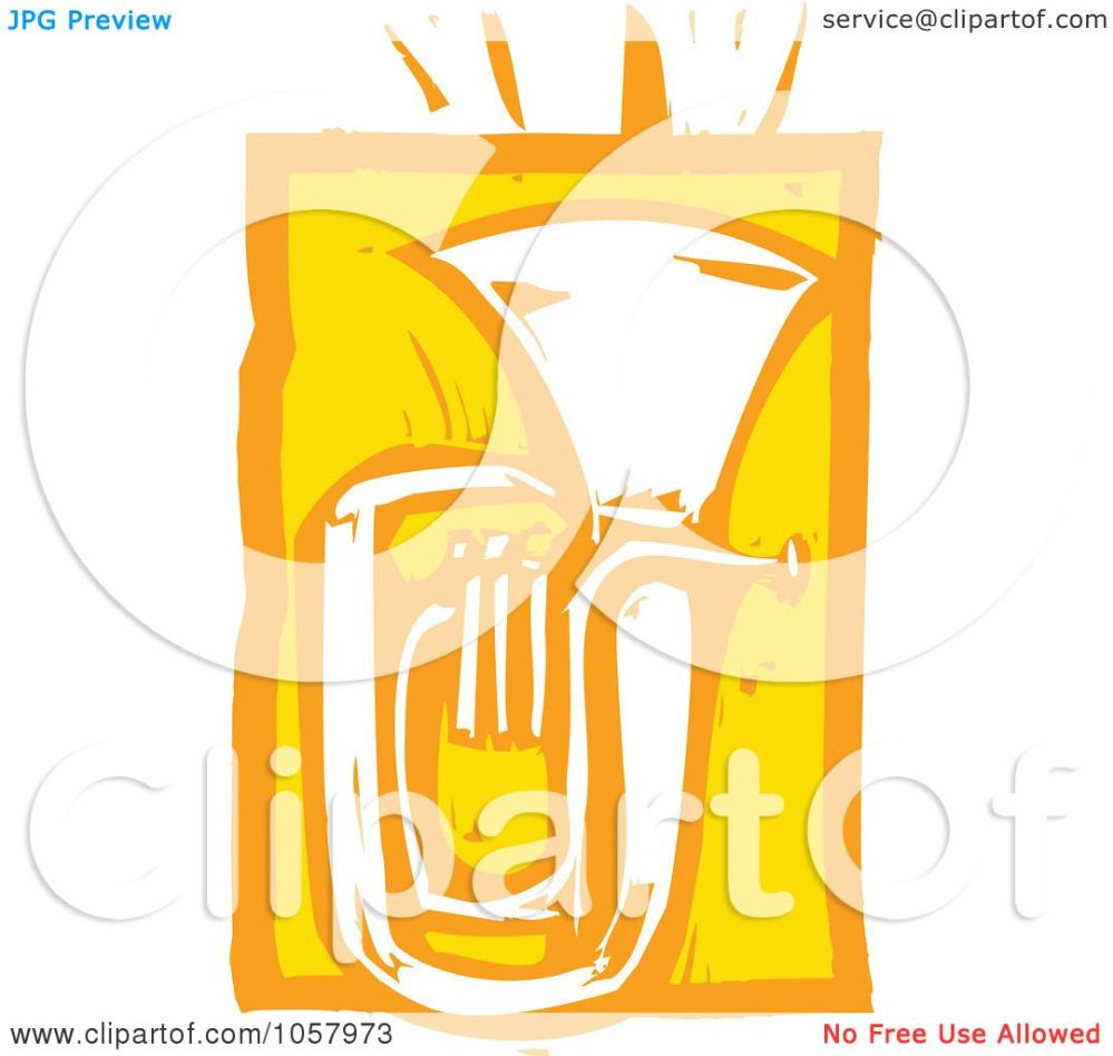 medium resolution of royalty free vector clip art illustration of a yellow woodcut styled tuba by xunantunich