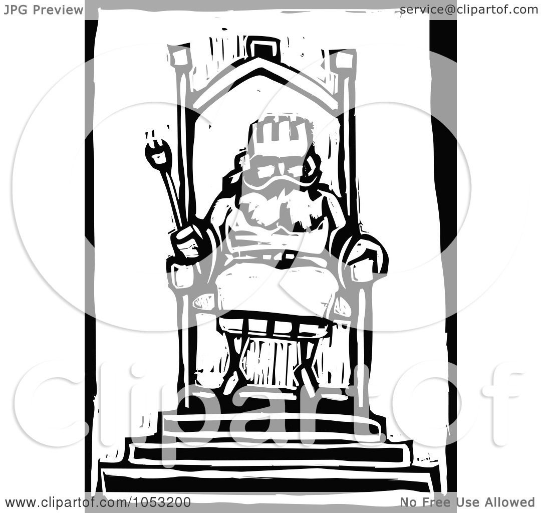 Royalty Free Vector Clipart Illustration Of A Black And White Woodcut Styled King At His Throne