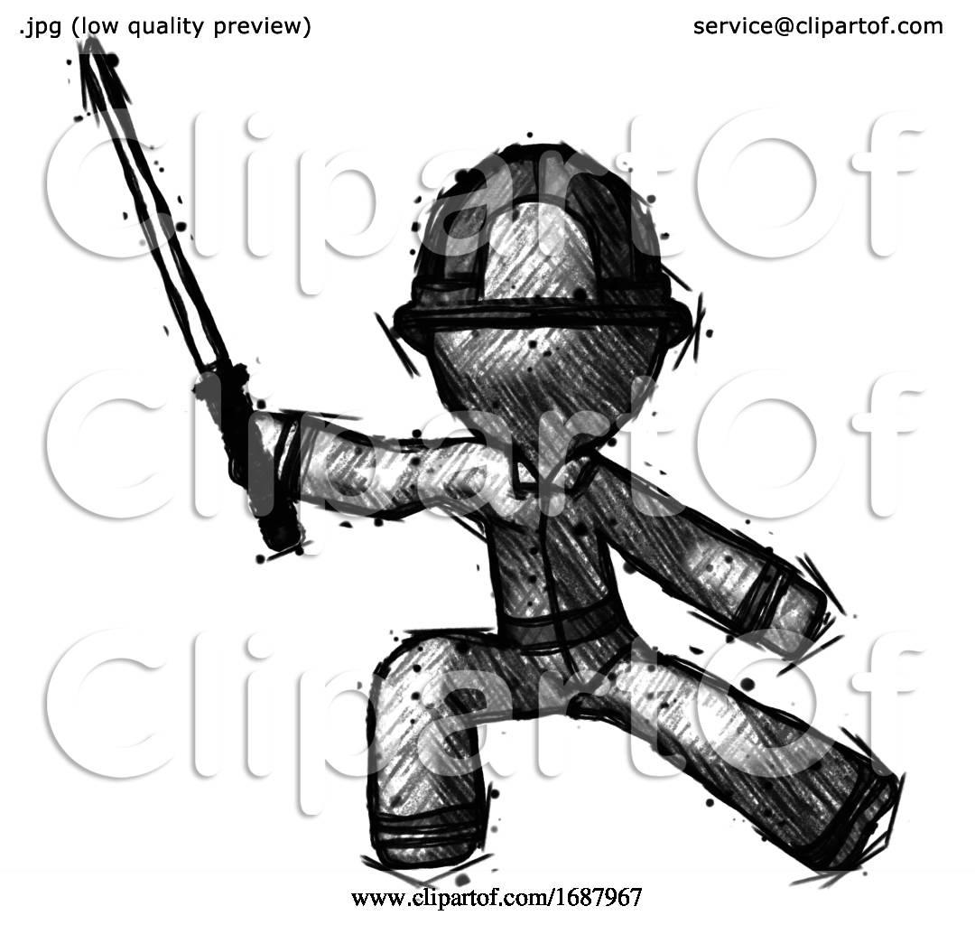 Sketch Firefighter Fireman Man With Ninja Sword Katana In