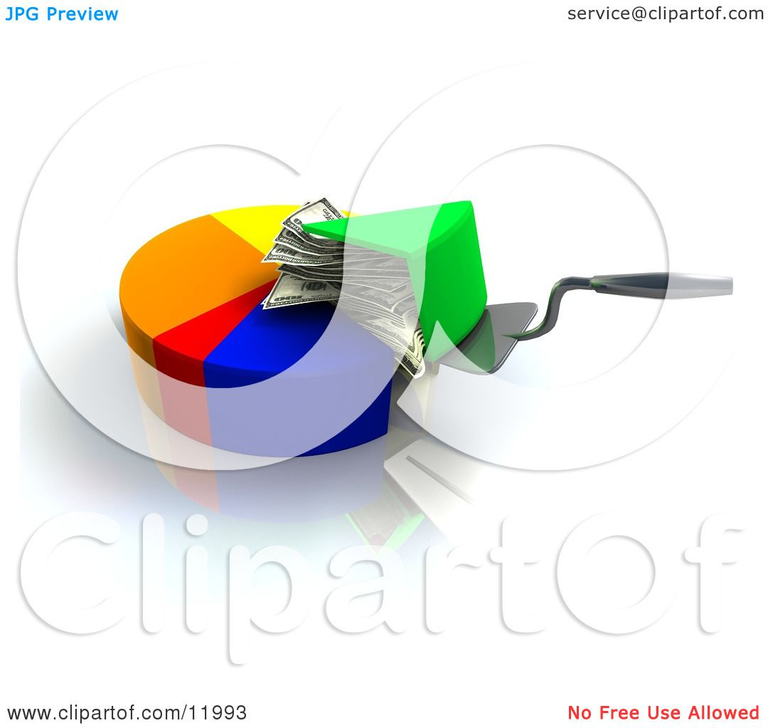 hight resolution of spatula scooping a money filled slice of a pie chart clipart illustration by leo blanchette